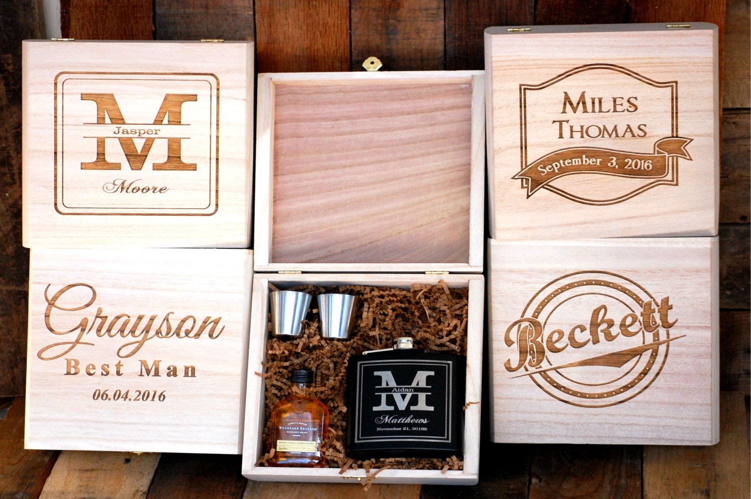Personalized Wedding Gifts For Groomsmen: Groomsmen Gift Set Of 1 Cigar Box Flask Gift Set Personalized