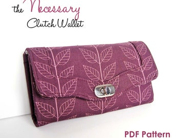 The Necessary Clutch Wallet Sewing Pattern:  A Large wallet with card slots and room for your Smart Phone