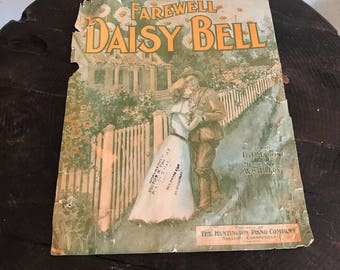 Farewell Daisy Bell Early 1900s Antique Sheet Music Huntington Piano Company Shelton  Connecticut Fred Watson Mt Vernon lcww