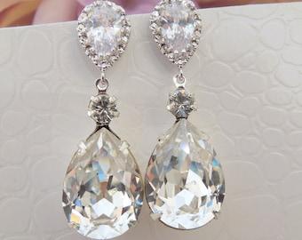 Bridal crystal earrings Wedding earrings Bridal earrings Crystal Wedding Bridal jewelry Swarovski Crystal Bridal Crystal Drop Earrings ARIA
