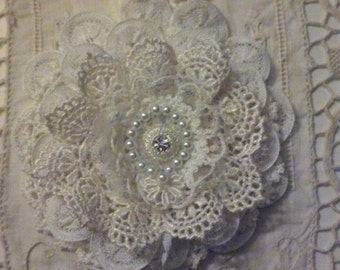 Doily Flower Ivory and White w/Czech Crystal for Wall Hanging/Scrapbooking