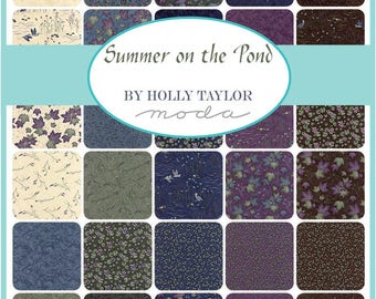 """Summer on the Pond - Jelly Roll (40) 2.5"""" strips - MODA - by Holly Taylor - Beautiful foliage, browns, greens, blues, purples"""