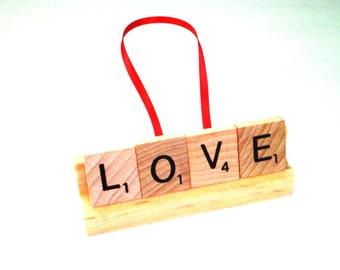 Love Ornament, Scrabble Letter Art, Scrabble Tile Decor, Christian Ornament, Wooden Word Art, Baby Shower Gift, Neutral Baby Room Decor
