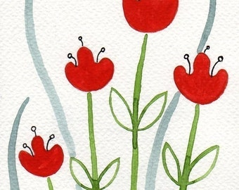Watercolor Painting: Watercolor Flower Painting -- Mini Art Print -- Red Tulips  -- ACEO Print
