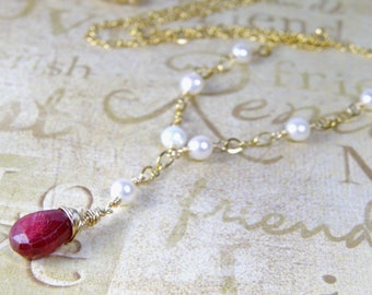 Natural Ruby Necklace, Gold Filled, Freshwater Pearls, Red Stone Pendant, July Birthstone, Birthday Gift, Handmade Wedding Jewelry