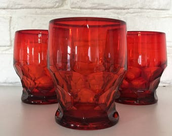 3 Georgian Red by Viking Glass 7-ounce tumblers