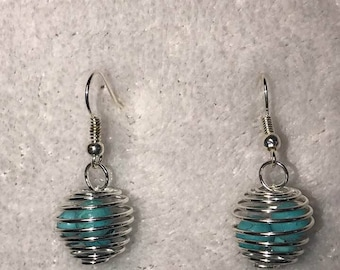 Blue turquoise cage earrings