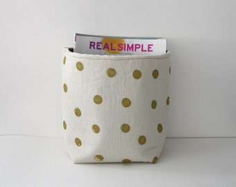 Magazine Storage Container / Gold Dots / Nursery Toy Storage New Baby Spring Cleaning Book Storage Basket / Diaper Caddy / Diaper Storage