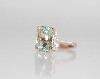 Aquamarine Ring 14k Rose Gold Ring 3ct Seafoam Green Blue emerald cut aquamarine engagement ring Eidelprecious signature design