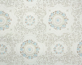 1950s Vintage Wallpaper by the Yard - Blue and Brown Floral Vintage Wallpaper