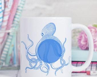 Coffee Mug Blue Octopus Coffee Cup