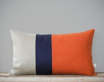 Orange Colorblock Pillow Cover with Navy and Natural Linen Stripes by JillianReneDecor (12x20) Modern Home Decor, Stripe Trio, Lumbar Pillow