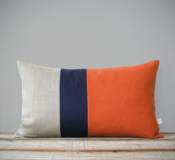 Orange Colorblock Pillow Cover With Navy And Natural Linen