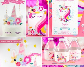 Unicorn Birthday Party Printables, Magical Unicorn Invite, Banner, Party Favor Box, Hats, Unicorn Party Decor, Rainbow, INSTANT DOWNLOAD