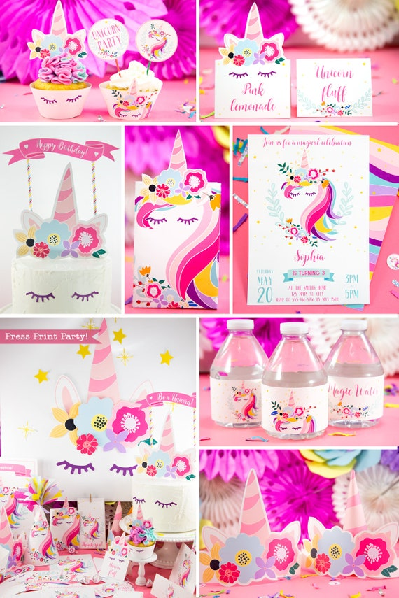 It is a picture of Delicate Free Unicorn Birthday Printables