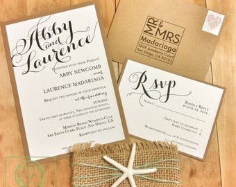 Beach Theme Wedding Invitation – Destination Wedding - Starfish Invitation