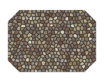 Brown placemat, printed cloth placemat, tan, beige and gray mosaic design, fabric placemat, table linens, table setting, home decor