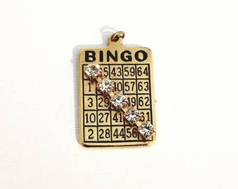 Winning BINGO Card Charm Pendant