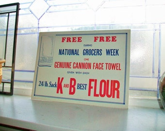 1930s Store Sign K and B Flour Red White and Blue