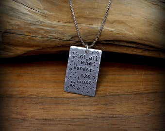 Not all who wander are lost sterling silver necklace