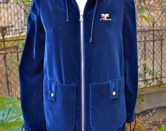 COURREGES HYPERBOLE 1970 Velvet Hooded  Jacket