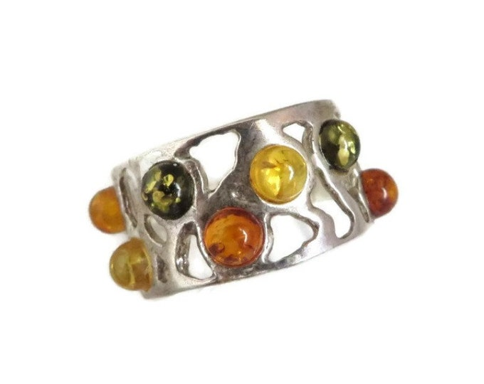 Sterling Silver Amber Ring, Vintage Green, Yellow, Orange Amber Stone Ring, Statement Ring