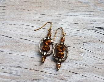 Gold Faceted Glass Framed in Tibetan Silver Earrings.  Mixed Metal Earrings.  JemstoneZ handmade Earrings