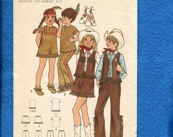 1970's Butterick 6296 Western Costumes for Kids Size 6