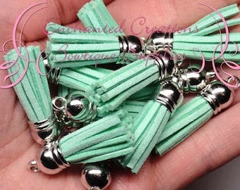 38mm Mint Green Faux Suede Tassel Charms With Silver Top, Graduation Gift, End of School, DIY Keychain, Necklace, Bracelet, Earrings