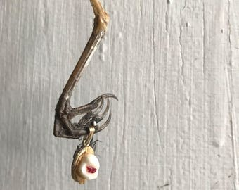 Bird Talon and Human Tooth Garnet Necklace