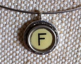 Cream letter F key   typewriter key pendant   silver tone pendant on silvertone neckwire   monogram pendant