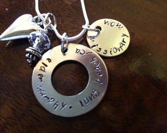 LDS missionary Mom / Sister Missionary Mom handstamped necklace