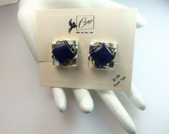 Vintage Silver Tone Navy Blue Thermoset Clip Earrings Designer Signed Coro on Original Coro Sales Card