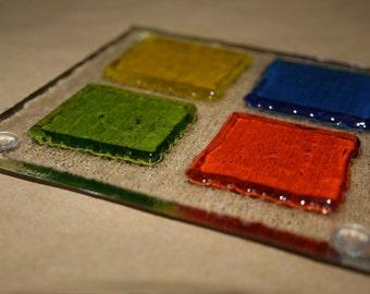 Sous-verres en verre carré - multicolore en relief 3D