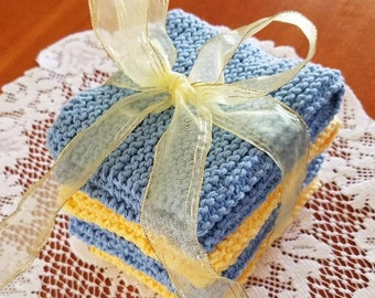 Knitted Spring Washcloths - Set of 4