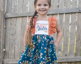 Big Sister - Big Sister Dress - Big Sister Outfit - Cotton Girls Dresses - Sibling Outfits - Personalized Dress - Big Sister Gift - Sundress