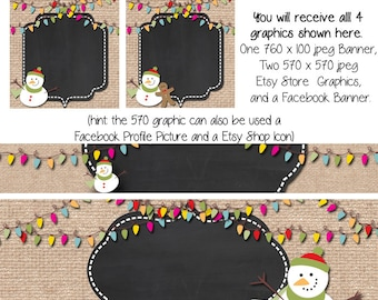 Winter Christmas, DIY Blank Etsy Banner and Facebook Set - Burlap Snowman - Customize for your Store