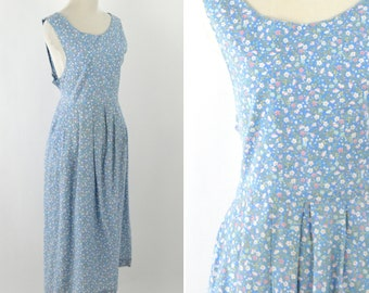 Vintage 1990's Blue Floral Spring Summer Cotton Dress - Cotton Casual  Mori Girl Pleated Frock Dress - Pinafore Dress- Size Medium Large