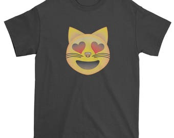 Color Emoticon - Heart Eyes Cat Face Smile Mens T-shirt