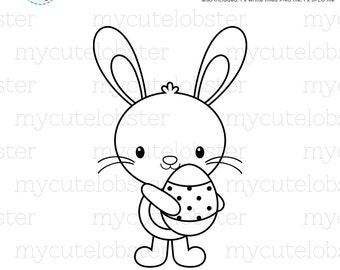Easter Bunny Digital Stamp Clipart - clip art outline, bunny, rabbit, stamp clipart - personal use, small commercial use, instant download