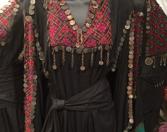 Vintage Black Egyptian Bedouin Dress & Antique Old Coins Made In Egypt