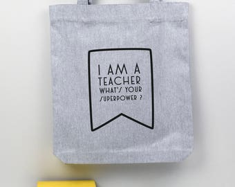 Thank You Teacher Gift Tote Bag, end of term teacher present, gift for a teacher, reuseable  shopping bag, teacher appreciation