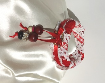 Handmade Red and White Gingham Bangle Bracelet with Beaded Accents by FairyLace Designs