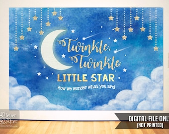 Twinkle Twinkle Little Star Backdrop Baby Shower Gender Reveal night sky and stars background poster birthday photobooth banner printable