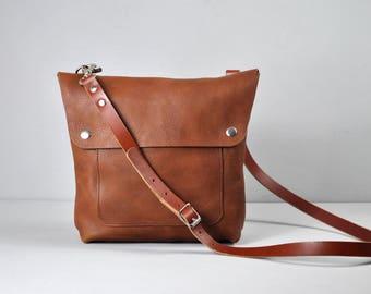 Italian Leather Crossbody bag, Everyday bag, Small Messenger Bag, Women's Crossbody Bag, Leather Handbag, Leather Purse