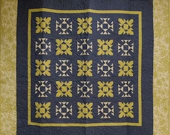 Blue and Chartreuse Patchwork