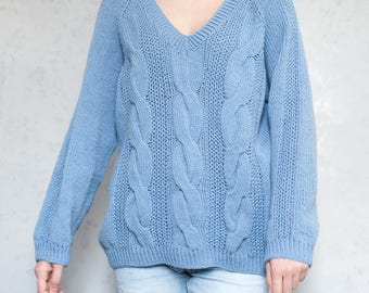 Knit sweater oversized sweater long sweater loose sweater chunky sweater wool sweater blue pullover jumper women slouchy sweater knitted