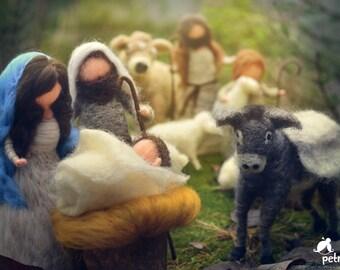 felted Full nativity set, 18 pieces, needle felted, wool, Christmas,Mary, Joseph, Jesus, Shepherds, sheep, donkey, camel, kings, angel