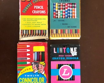 4 Boxes Vintage Wood Crayon Colored Pencils Mostly New Old Stock Original Boxes SUNSET Lintone CONNCOLOR