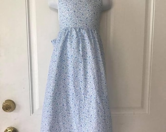 Size 6 white, blue floral halter dress, elastic-tie back with matching basket/purse
